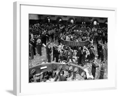 1940s Trading in Progress on Floor of New York Stock Exchange NYC--Framed Photographic Print