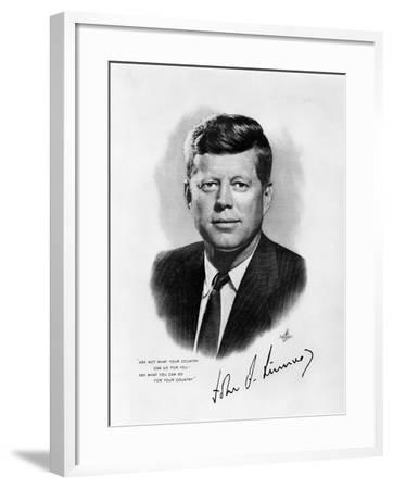 Official White House Portrait John Fitzgerald Kennedy 35th American President--Framed Photographic Print