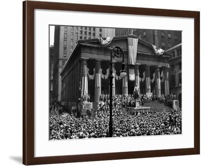 1942 WWII War Bond Rally Federal Treasury Building New York Stock Exchange Wall Street Manhattan--Framed Photographic Print