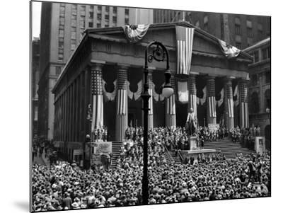 1942 WWII War Bond Rally Federal Treasury Building New York Stock Exchange Wall Street Manhattan--Mounted Photographic Print