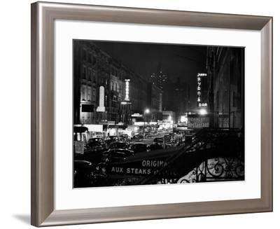 1940s Night Street Scene West 52nd Street Lights from Numerous Clubs and Nightclubs New York--Framed Photographic Print