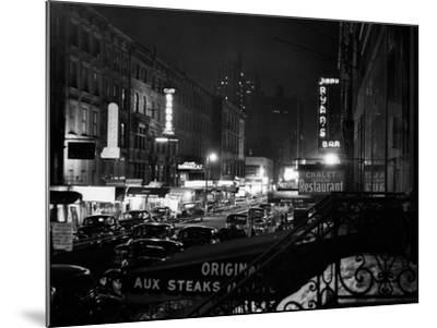 1940s Night Street Scene West 52nd Street Lights from Numerous Clubs and Nightclubs New York--Mounted Photographic Print