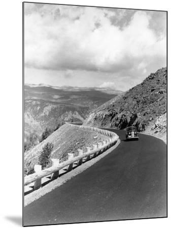1940s Automobile on Hillside Road Near Yellowstone National Park 11000 Feet Elevation Red Lodge--Mounted Photographic Print