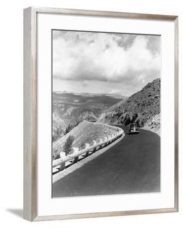 1940s Automobile on Hillside Road Near Yellowstone National Park 11000 Feet Elevation Red Lodge--Framed Photographic Print
