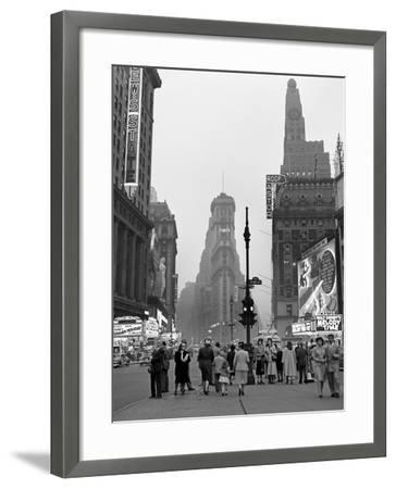 1940s Times Square at Twilight Night Looking South from Duffy Square Towards Ny Times Building--Framed Photographic Print