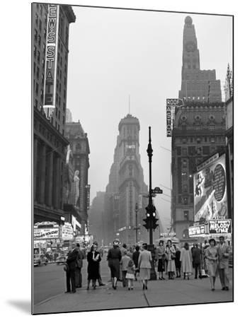 1940s Times Square at Twilight Night Looking South from Duffy Square Towards Ny Times Building--Mounted Photographic Print