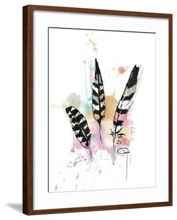 Calm Three Feathers-OnRei-Framed Art Print