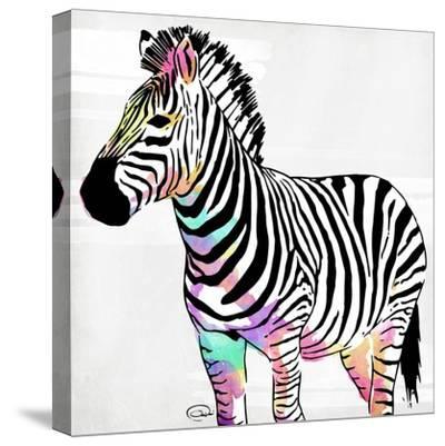 Zebra Head Colorful-OnRei-Stretched Canvas Print