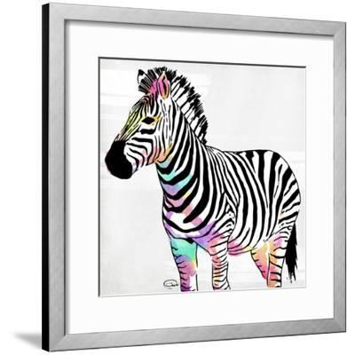 Zebra Head Colorful-OnRei-Framed Art Print