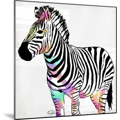 Zebra Head Colorful-OnRei-Mounted Art Print