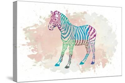Zebra-Victoria Brown-Stretched Canvas Print