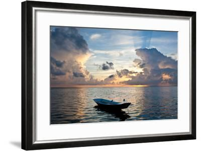 Dinghy Boat in Sea at Sunset, Great Exumand, Bahamas--Framed Photographic Print