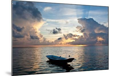 Dinghy Boat in Sea at Sunset, Great Exumand, Bahamas--Mounted Photographic Print