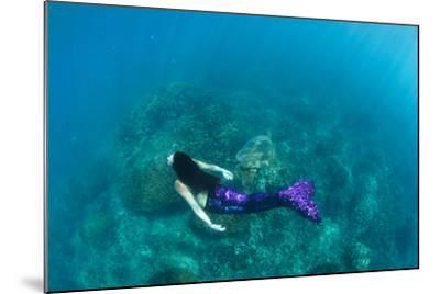 View of Mermaid Swimming in Ocean, Hawaii, USA--Mounted Photographic Print