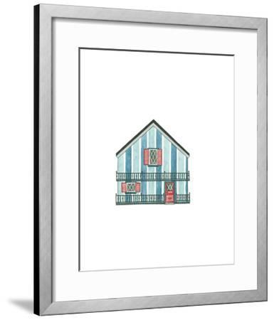 Little Striped Houses Cyan-Natasha Marie-Framed Art Print