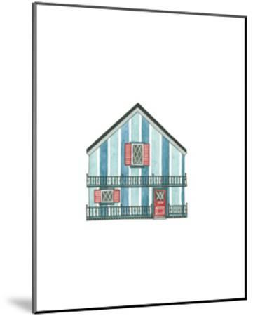 Little Striped Houses Cyan-Natasha Marie-Mounted Art Print