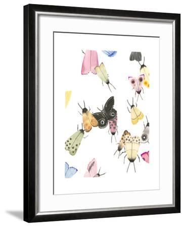 watercolor moths 2-Natasha Marie-Framed Art Print