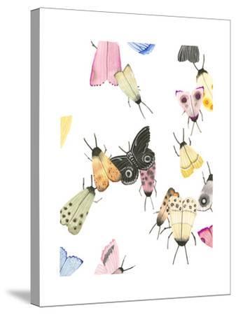 watercolor moths 2-Natasha Marie-Stretched Canvas Print