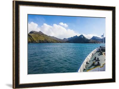 Cruise ship shipping to Ocean Harbour, South Georgia, Antarctica, Polar Regions-Michael Runkel-Framed Photographic Print