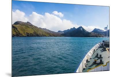 Cruise ship shipping to Ocean Harbour, South Georgia, Antarctica, Polar Regions-Michael Runkel-Mounted Photographic Print
