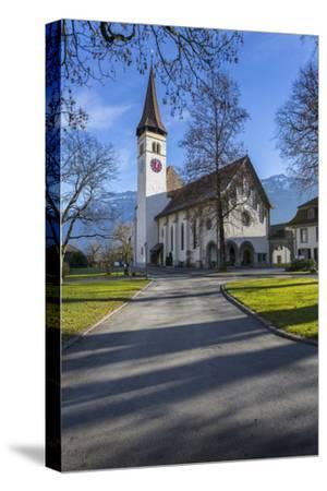 Schlosskirche Interlake, Interlaken, Jungfrau region, Bernese Oberland, Swiss Alps, Switzerland, Eu-Frank Fell-Stretched Canvas Print