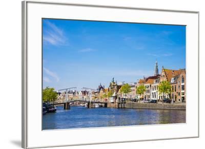 Buildings along the Spaarne River with Gravestenenbrug drawbridge, Haarlem, North Holland, Netherla-Jason Langley-Framed Photographic Print