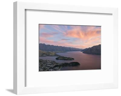 Pink clouds over Lake Wakatipu and the Remarkables, dusk, Queenstown, Queenstown-Lakes district, Ot-Ruth Tomlinson-Framed Photographic Print