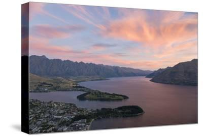 Pink clouds over Lake Wakatipu and the Remarkables, dusk, Queenstown, Queenstown-Lakes district, Ot-Ruth Tomlinson-Stretched Canvas Print