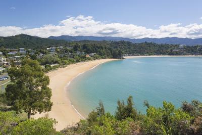 View from hillside over the sandy beach at Little Kaiteriteri, Kaiteriteri, Tasman, South Island, N-Ruth Tomlinson-Framed Photographic Print