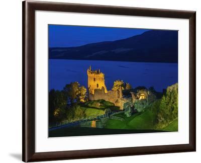 Twilight view of Urquhart Castle and Loch Ness, Highlands, Scotland, United Kingdom, Europe-Karol Kozlowski-Framed Photographic Print