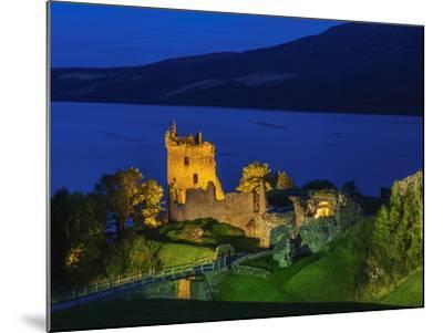 Twilight view of Urquhart Castle and Loch Ness, Highlands, Scotland, United Kingdom, Europe-Karol Kozlowski-Mounted Photographic Print