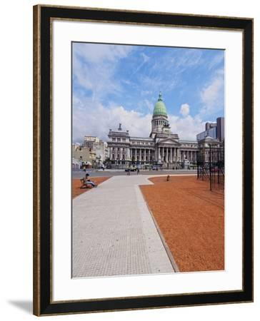 Plaza del Congreso, view of the Palace of the Argentine National Congress, City of Buenos Aires, Bu-Karol Kozlowski-Framed Photographic Print