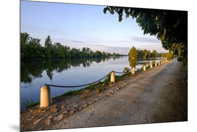 The quay along the Loire River, Chouze sur Loire, Loire Valley, UNESCO World Heritage Site, Indre e-Nathalie Cuvelier-Mounted Photographic Print