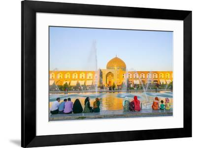 View across Naqsh-e (Imam) Square from Ali Qapu Palace opposite Sheikh Lotfollah Mosque, UNESCO Wor-James Strachan-Framed Photographic Print