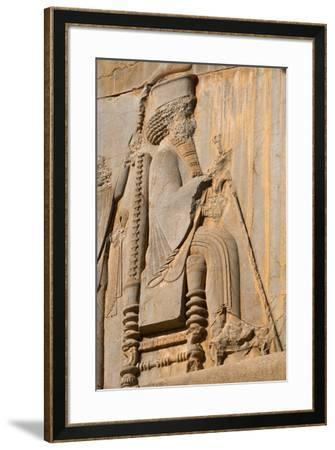 Carved relief of Darius the Great, builder of Persepolis, UNESCO World Heritage Site, Iran, Middle -James Strachan-Framed Photographic Print