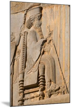 Carved relief of Darius the Great, builder of Persepolis, UNESCO World Heritage Site, Iran, Middle -James Strachan-Mounted Photographic Print