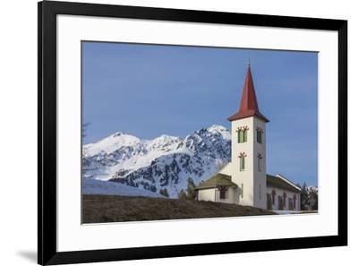 The white alpine church framed by snowy peaks, Maloja, Bregaglia Valley, Canton of Graubunden, Enga-Roberto Moiola-Framed Photographic Print