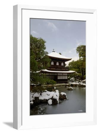 Snow-covered Silver Pavilion, Ginkaku-ji Temple, Kyoto, Japan, Asia-Damien Douxchamps-Framed Photographic Print
