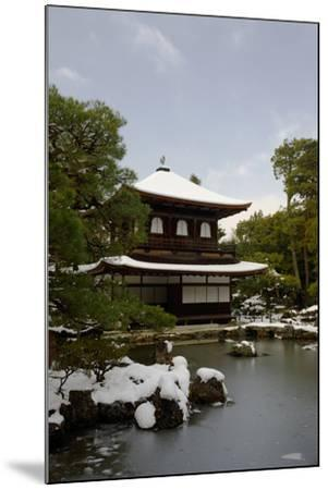 Snow-covered Silver Pavilion, Ginkaku-ji Temple, Kyoto, Japan, Asia-Damien Douxchamps-Mounted Photographic Print