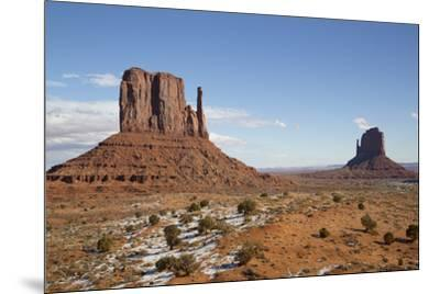 West Mitten Butte on left and East Mitten Butte on right, Monument Valley Navajo Tribal Park, Utah,-Richard Maschmeyer-Mounted Photographic Print