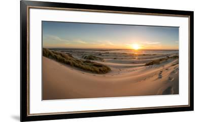 Sand dunes, grass, and driftwood at sunset on the Oregon coast, Oregon, United States of America, N-Tyler Lillico-Framed Premium Photographic Print