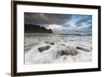 Lights of midnight sun lights up the waves of the blue sea, Unstad, Vestvagoy, Lofoten Islands, Nor-Roberto Moiola-Framed Photographic Print