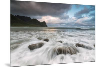 Lights of midnight sun lights up the waves of the blue sea, Unstad, Vestvagoy, Lofoten Islands, Nor-Roberto Moiola-Mounted Photographic Print