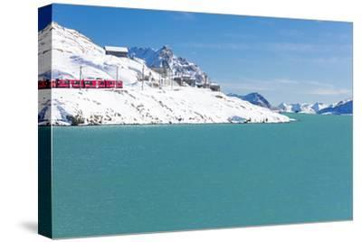 Bernina Express train in the snowy valley surrounded by Lake Bianco, Bernina Pass, Canton of Graubu-Roberto Moiola-Stretched Canvas Print