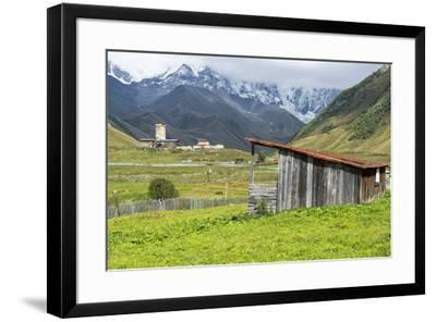Traditional medieval Svanetian tower houses, Ushguli village, Shkhara Moutains behind, Svaneti regi-G&M Therin-Weise-Framed Photographic Print