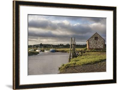 A view of boats moored in the creek at Thornham, Norfolk, England, United Kingdom, Europe-Jon Gibbs-Framed Photographic Print