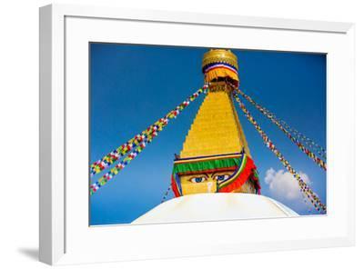 Buddhist Monks decorating the temple at Bouddha (Boudhanath), UNESCO World Heritage Site, Kathmandu-Laura Grier-Framed Photographic Print