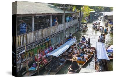 Damnoen Saduak Floating Markets, Bangkok, Thailand, Southeast Asia, Asia-Frank Fell-Stretched Canvas Print