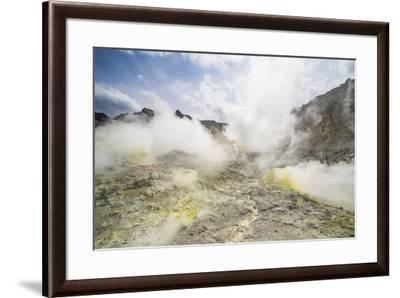 Sulphur pieces on Iozan (sulfur mountain) active volcano area, Akan National Park, Hokkaido, Japan,-Michael Runkel-Framed Photographic Print