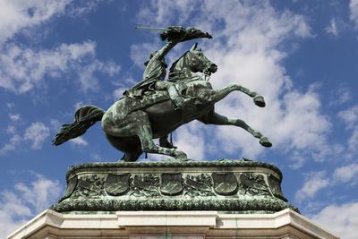 Equestrian statue of Archduke Charles of Austria, Duke of Teschen, Vienna, Austria, Europe-John Guidi-Framed Photographic Print
